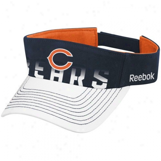 Chicago Bear Hat : Reebok Chicago Bear Navy Blue-white Players Visor