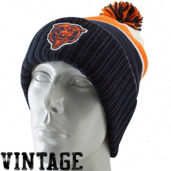 Chicago Bear Cardinal's office : Reebok Chicago Beear Navy Blue-orange Vintage Rib-knit Beanie W/pom