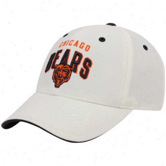 Chicago Bear Hat : Reebok Chicago Bear White Retro Structured Adjustable Hat