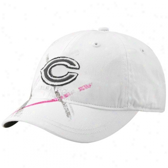 Chicago Bear Hats : Reeok Chicago Bear Ladies White Pink Plaid Adjustable Slouch Hats