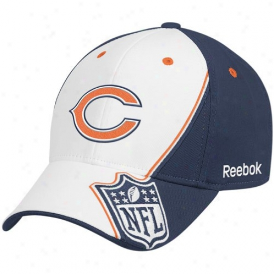 Chicago Bear Hats : Reebok Chicago Bear White-navy Blue Shield Structured Flex Fit Hats
