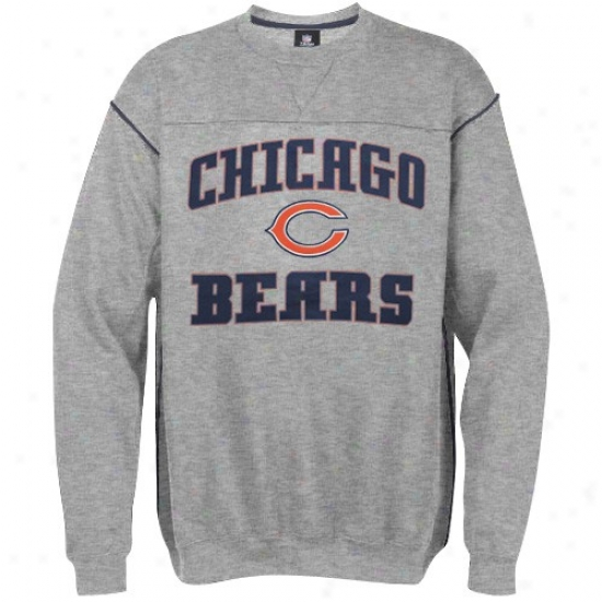 Chicago Bear Hoodys : Chicago Bear Ash Classic Crew Hoodys
