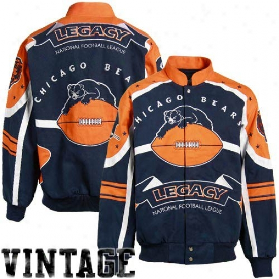 Chicago Bear Jacket : Chicago Bear Navy Livid Legacy Vintage Heavyweight Canvas Jacket