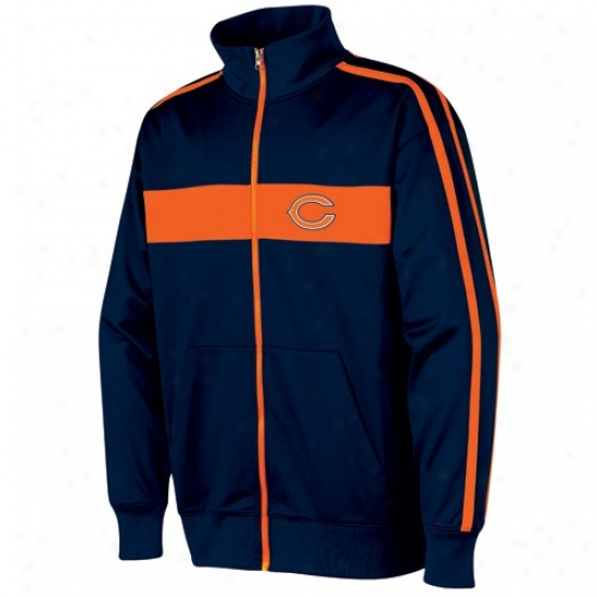 Chicago Bear Jackets : Chicafo Bear Navy Blue Nose Tckle Track Jackets