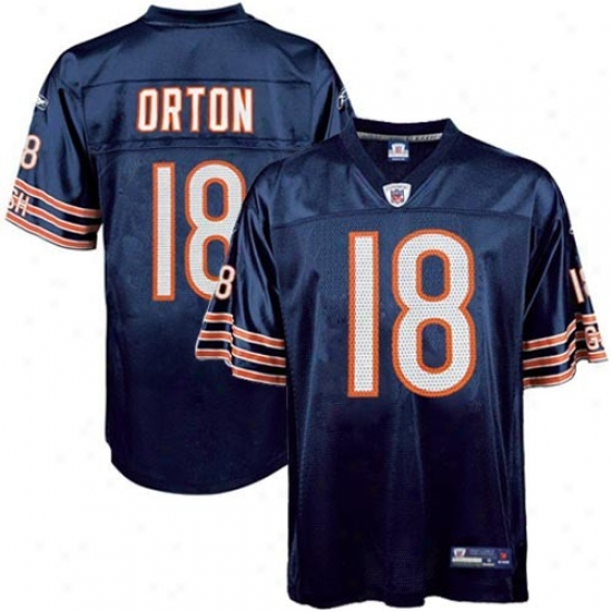 Chicago Bear Jersey : Reebok Chicago Bearr #18 Kyle Orton Youth Navy Blue Replica Football Jersey