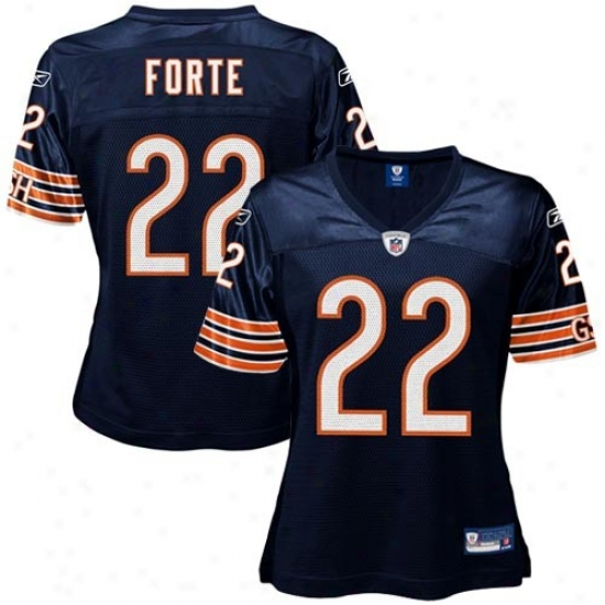 Chicago Bear Jersey : Reebok Nfl Equipment Chicago Bear #22 Matt Forte Ladies Navy Blue Replica Football Jersey