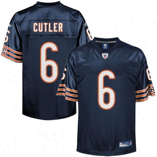 Chicago Bear Jerseys : Reebok Nfl Accoutrement Chicago Bear #6 Jay Cutler Yoyth Navy Blue Replica Football Jerseys