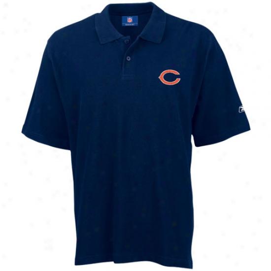 Chicago Bear Polos : Reebok Chicago Bear Navy Team Logo Pique Pol0s