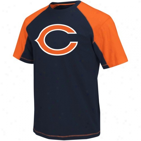 Chicago Bear Shirt : Chicago Bear Navy Blue-orange Victory Gear Iii Raglan Shirt