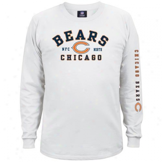 Chicago Bear Shirt : Chicago Bear White Dual Menace Long Sleeve Shirt