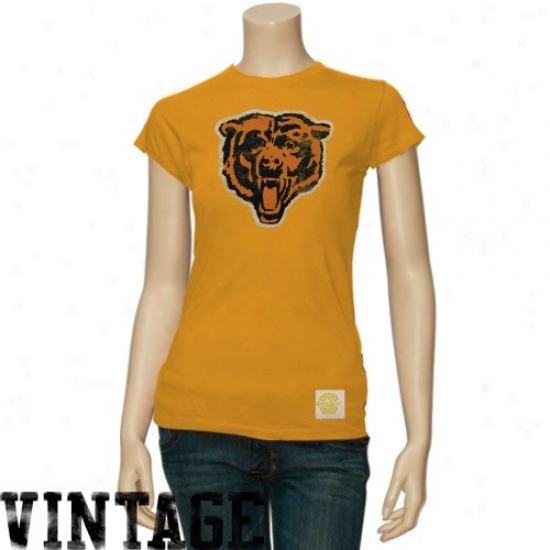 Chicago Bear Shirt : Reebok Chicago Bear Ladies Orange Better Logo Vintage Premium Shirt