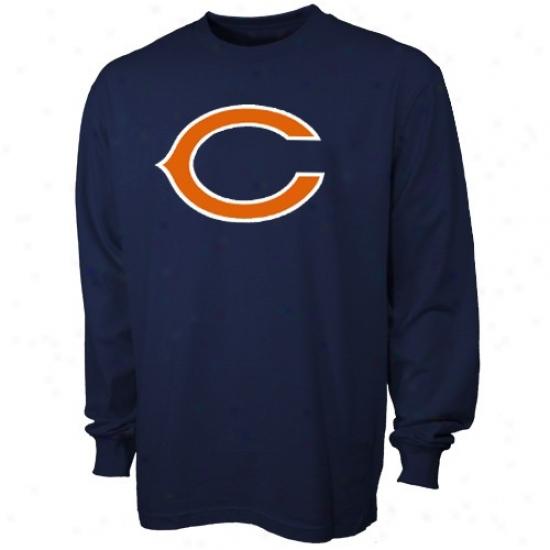 Chicago Bear Shirts : Reebok Chicago Bear Navy Blue Youth Primary Logo Long Sleeve Shirts