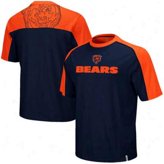 Chicago Bear Shirts : Reebok Chicago Bear Youth Navy Blue-orange Draft Pick Shirts