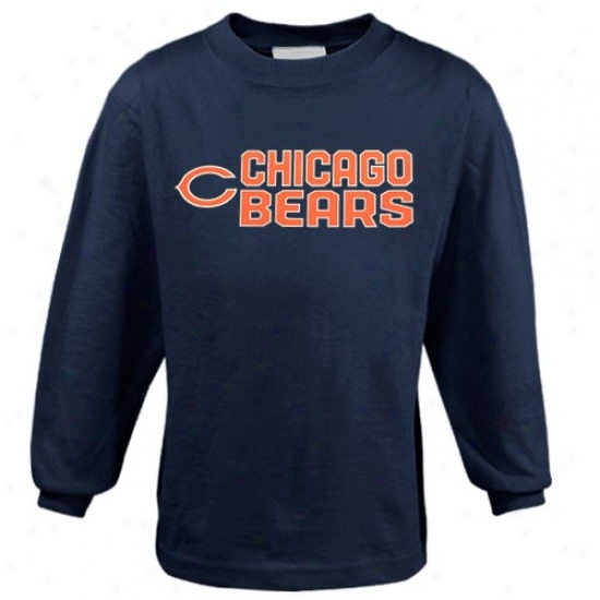 Chicago Brar Shirts : Reebok Chicago Bear Youth Navy Blue Summer Stack Long Sieeve Shirts