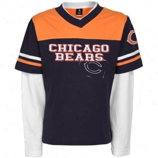 Chicago Bear Shirts : Reebok Chicago Bear Boy Girls Navy Blue Statement Double Layer 3/4 Sleeve Shirts