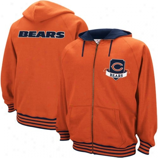 Chicago Bear Stuff: Mitchell & Ness Chicago Bear Orange Huddle Up Throwback Full Zip Hoody Sweatshirt