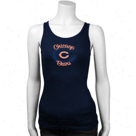 Chicago Bear T-shirt : Chicago Bear Ladies Navy Blue Playtime Cistern Top
