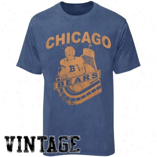 Chicago Bear T-shirt : Junk Food Chicago Bear Navy Blue Vintage Preemium T-shirt