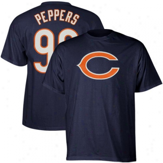 Chicago Bear T Shirt : Reebok Chicag0 Bera #90 Julius Peppers Navy Blue Skirmish Gear T Shirt