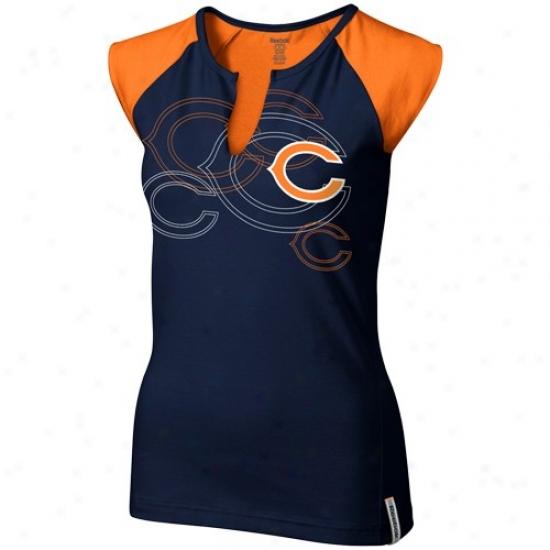 Chicago Bear T-shirt : Reebok Chicago Bear Ladies Navy Blue Hihh Pitch Split Neck Premium T-shirt