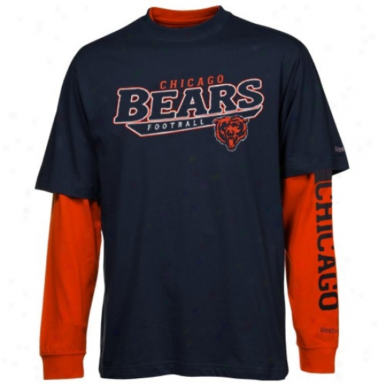 Chicago Be answerable T Shirt : Reebok Chicago Bear Navy Blue-orange Option 3-in-1 T Shirt Combo Pack