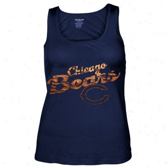 Chicago Bear Tees : Reebok Chicago Bear Ladies Navy Blue Rah-rah Shift Tank Top