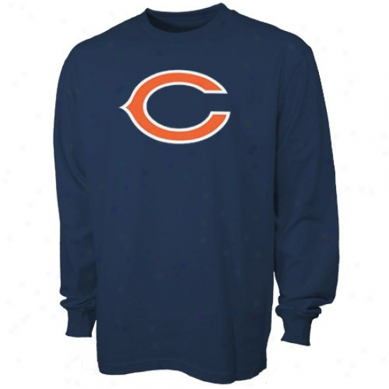 Chicago Bear Tees : Reebok Chicago Bear Preschool Navy Blue First-rate Logo Protracted Sleeve Tees