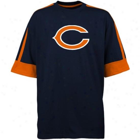 Chicago Bear Tshirt : Chicago Bear Navy Blue Conquest Gear Tshirt