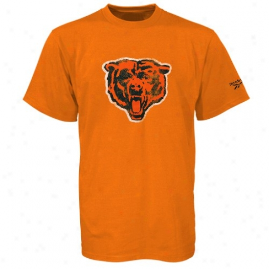Chicago Bear Tshirt : Reebok Chicago Bear Orange Retro Logo Vintage Premium Tsbirt