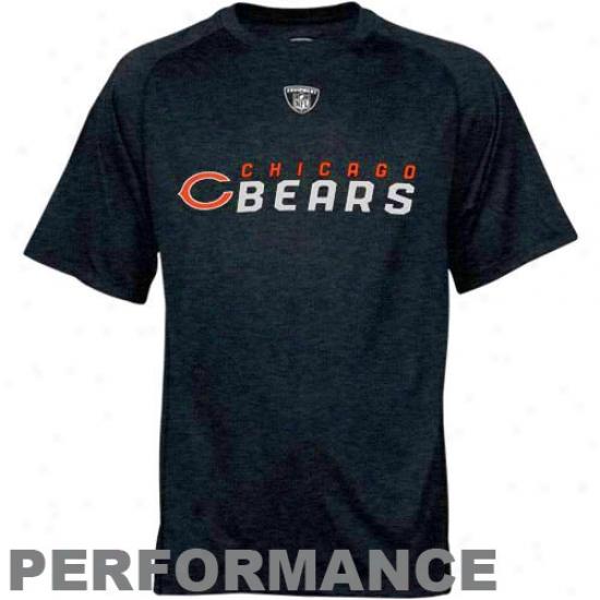 Chicago Bear Tshirt : Reebok Nfl Equipment Chjcago Bear Ships Blue Sideline Speedwick Performance Heathered Tshirt