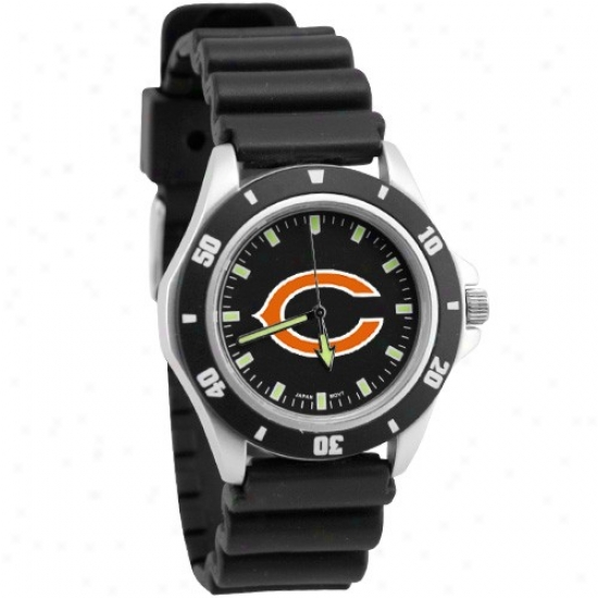Chicago Be fruitful Watch : Chicago Bear Black Men's Stainleqs Steel Face Challenger Sportx Watch