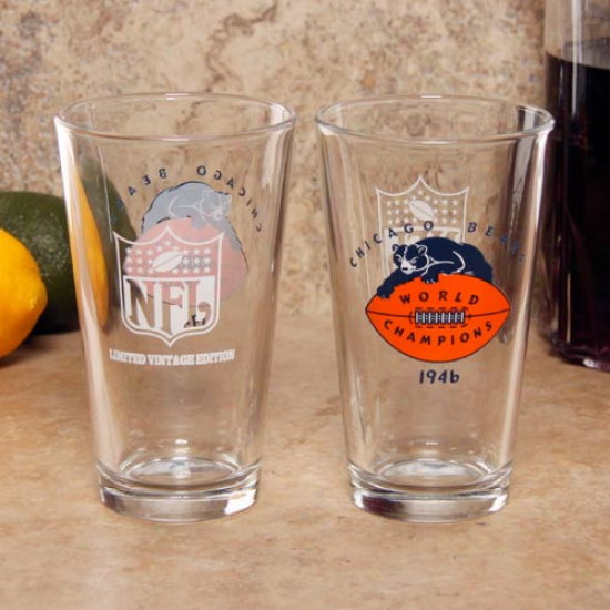 Chicago Bears 2-pack 16 Oz. Vintage Logo Pint Glasses