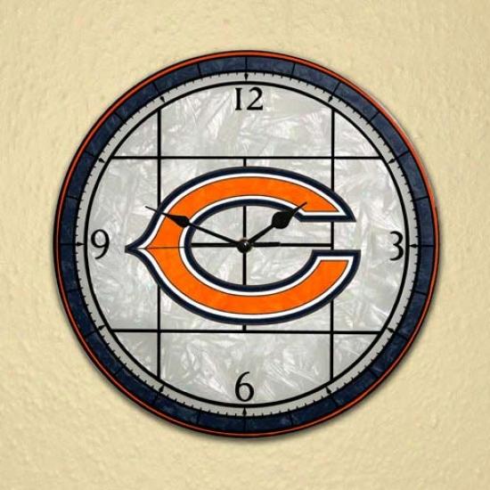 Chicago Bears Art-glass Clock