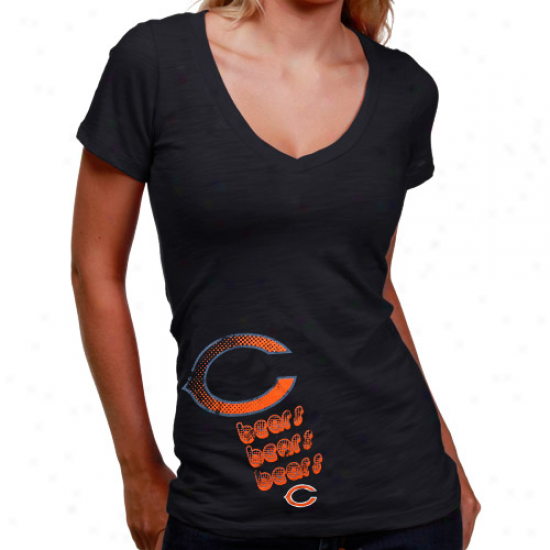 Chicago Bears Attire: Chicago Bears Ladies Navy Blue Triple Play V-neck Slub T-shirt