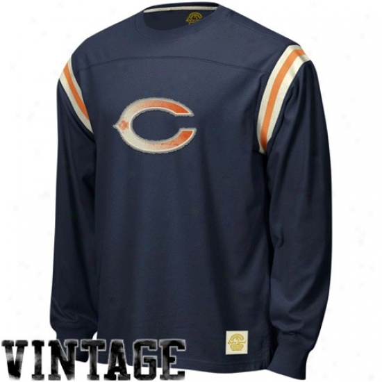 Chicago Bears Attire: Reebok Chicago Bears Navy Blue Whitewashed Logo Applique Protracted Sleeve T-shirt