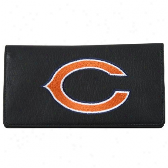 Chicago Bears Black Embroidered Leather Checkbook Cover