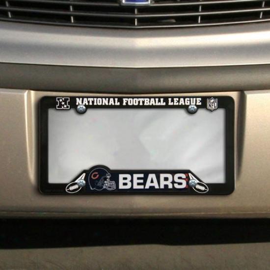 Chicago Bears Black Plastic License Plate Frame