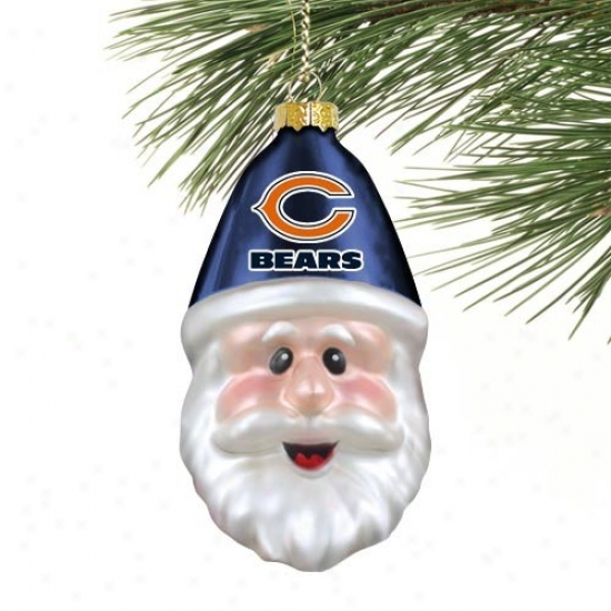 Chicago Bears Blown Glass Santa Cap Ornament