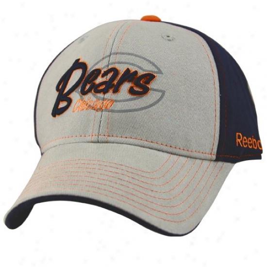 Chicago Bears Hats : Reebok Chicago Bears Gray-navy Blue Tonal Flourish Adjustable Hats