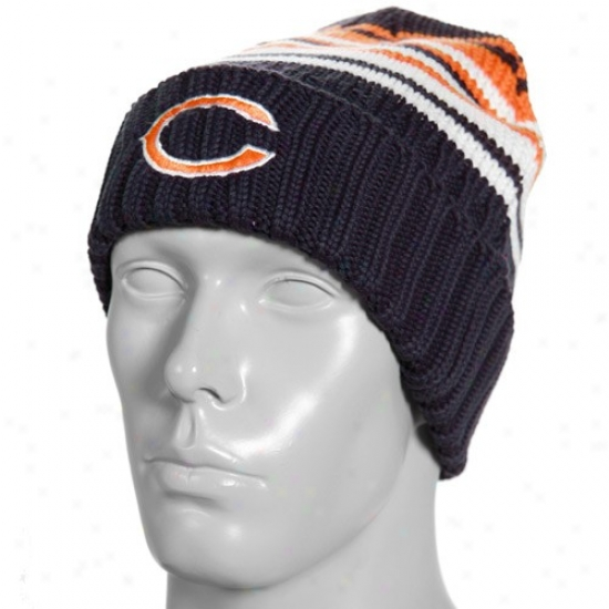 Chicago Bears Hats : Reeb0k Chicago Bears Navy Livid Prujing Sweater Knit Beanie