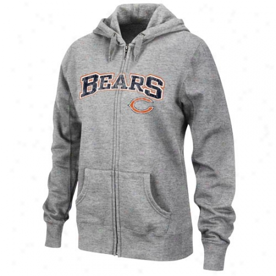 Chicago Bears Hoody : Chicago Bears Ladies Ash Classic Footblal Ii Distressed Full Zip Hoody