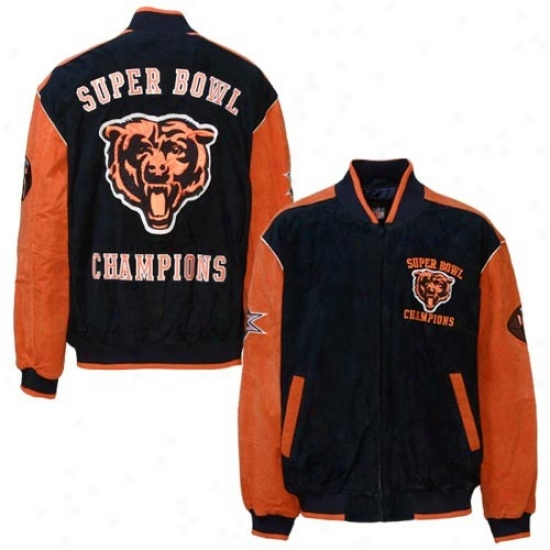 Chicago Bears Jackets : Chicago Bears Mourning Suede Super Bowl Champions Commemorative Jackets