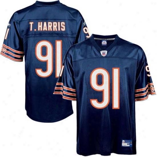 Chicago Bears Jersey : Reebok Nfl Equipment Chicago Bears #91 Tommie Harris Navy Replica Football Jersey