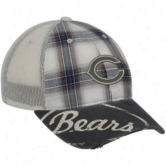 Chicago Bears Mrchandise: Reebok Chicago Bears Gray Plaid Mesh Back Slouch Adjustable Hat