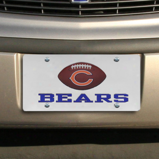 Chicago Bears Mirrored License Plate W/ Domed Football