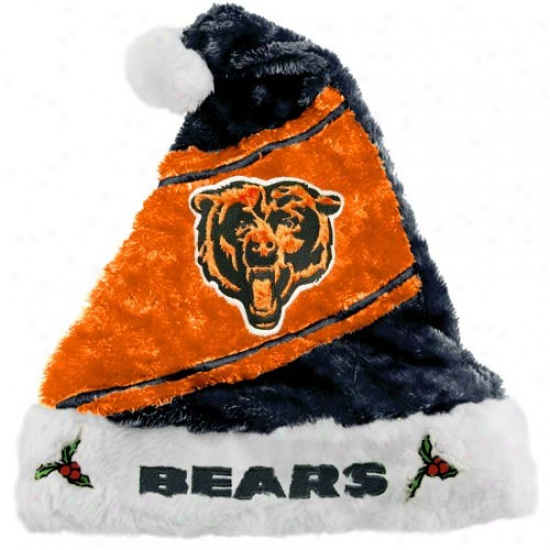 Chicago Bears Orange-navy Blue Santa Hat