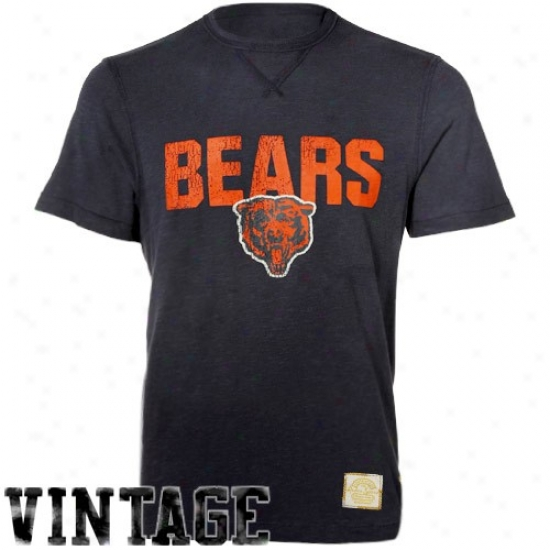 Chicago Bears Shirt : Reebok Chicago Bears Navy Blue Legacy Vintage Premium Shirt