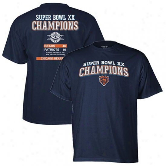 Chicago Bears Shirts : Reebok Chicago Bears Navy Blue Super Bowl Xx Champions Shirts