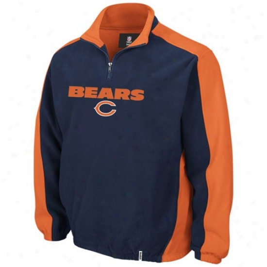 Chicago Bears Sweat Shirts : Reebok Chicago Bears Navy Blue Covert 1/4 Zip Sweat Shirts Pullover