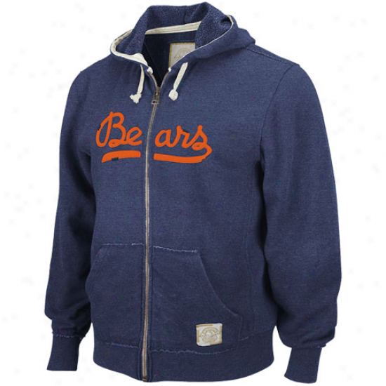 Chicago Bears Sweatshirt : Reebok Chlcago Bears Navy Blue Legendary Timeless Full Zip Vintage Sweatshirt